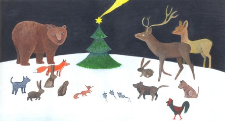 Animals at the Christmas tree