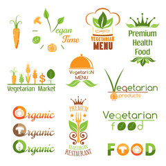 Set of vegetarian food logo