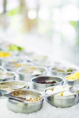 mixed vegetable ingredients in salad bar display