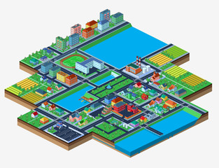 Vector isometric city isolated on white with lots of buildings.