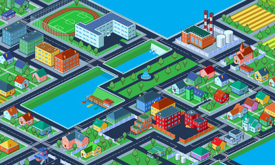 Vector Illustration of colorful isometric city with lots of buildings.