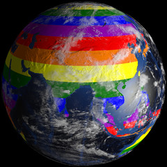 LGBT earth from space. Continents colored in lgbt colors.