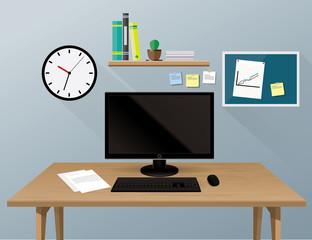 Computer desk, workplace cartoon