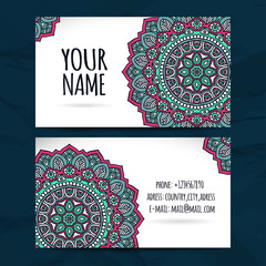 Business Cards. Vintage decorative elements.