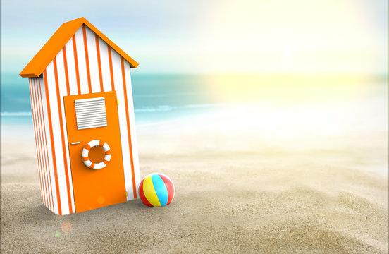 Beach cabin in summer