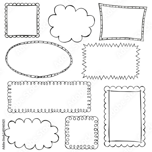 Black Doodle Frames On White Background Stock Image And Royalty