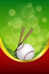 Green red sport white baseball ball club frame vertical gold ribbon
