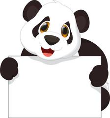 cute panda cartoon holding blank sign