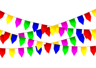 Multicolored bright flags garlands on white background