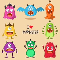Monster Funny And Cute Character Set