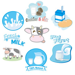 Set of milk labels