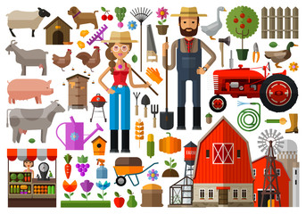farm, farmhouse, farmyard vector logo design template. harvest