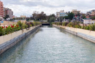 Water channel in the resort of Rimini. Italy