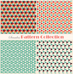 Geometric patterns collection A set of four seamless pattern in a retro collection