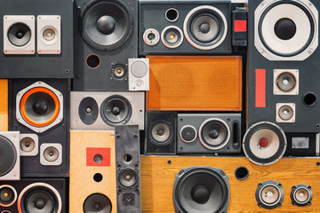 wall of retro vintage style Music sound speakers
