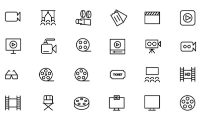 Cinema Vector Line Icons 2