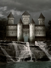 Castle over the waterfalls
