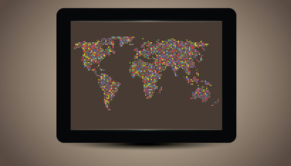 World Map on tablet