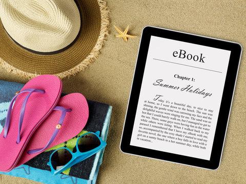 eBook tablet on beach