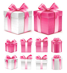 Realistic 3D Collection of Colorful Pink Pattern Gift Box with Ribbon and Bow
