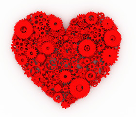 Heart of gears. Red heart. 3D.