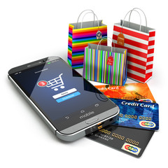 E-commerce. Online internet shopping. Mobile phone, shopping bag