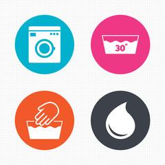 Wash icons. Machine washable at thirty degrees.