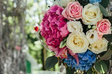 Beautiful flowers on wedding ceremony