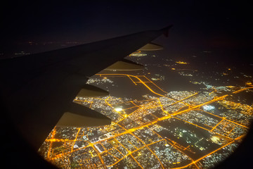 View from the window of an airplane at night