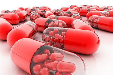 Dietary supplements. Variety pills. Vitamin capsules. 3d