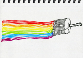 LGBT flag, artistic illustration, pen and ink drawing on paper, notebook artwork