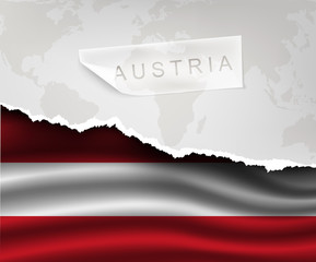 paper with hole and shadows austria flag