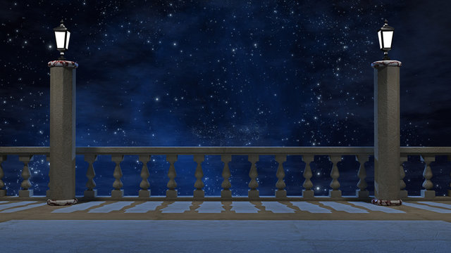 Vintage balcony  with view of beautiful night sky 3d rendering