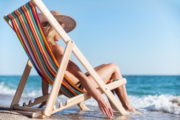 Beach, Women, Relaxation.