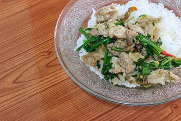 Thai spicy food basil pork fried rice