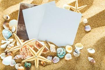 Polaroid, beach, photo.