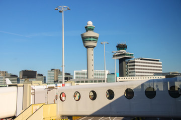 View the control tower and other buildings from the window of th