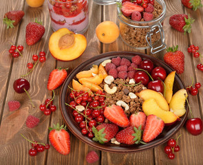 Granola with berries and fruit
