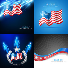 creative set of american flag backgrounds
