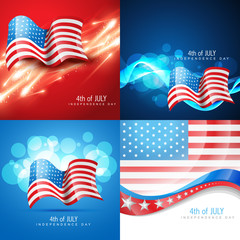 vector set of american flag in different creative style