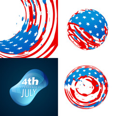 stylish set of 4th july independence day background illustration