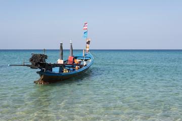 Longtale boat at the beach in phuket ,Andaman Sea, Thailand