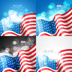 creative set of american flag design of 4th july independence da