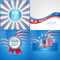 set of american flag abstract background