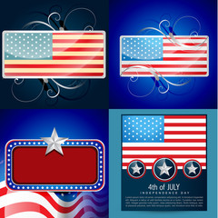 vector set of 4th july american independence day background illu
