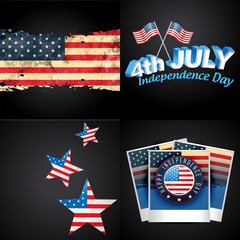 set of 4th july american independence day background illustratio