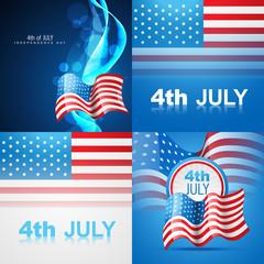set of american flag design illustration of 4th july independenc