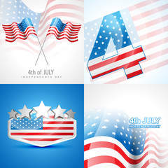 creative set of american independence day background illustratio