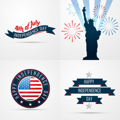 set of creative pattern of american flag design