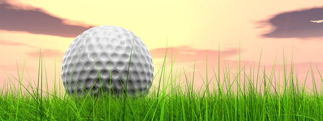 Sunset sky and a golf ball